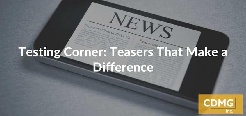 Testing Corner: Teasers That Make a Difference