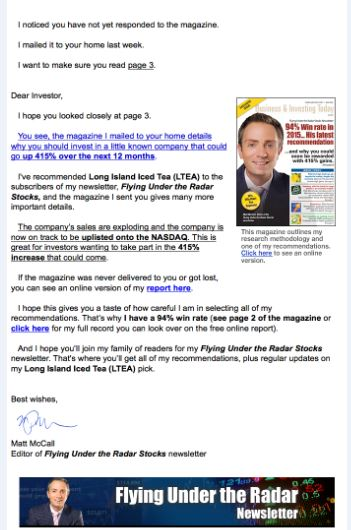 FUR Email Example part 2